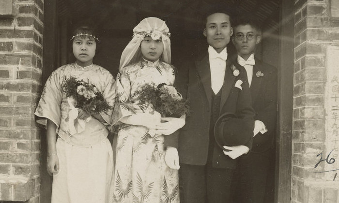 Wedding photograph of Wong Lan Fong and Yee Shew Ning