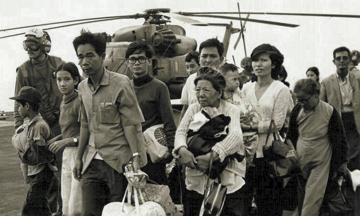 South Vietnamese refugees on a US ship